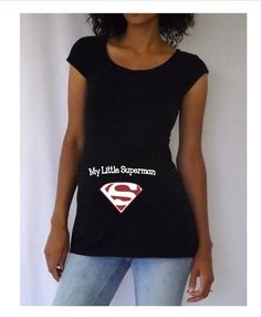 "Cute, Fun Maternity Shirt  ""My Little Superman""  maternity shirt, baby shower, gender revealing."