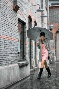 Singing in the rain    Top :: LOFT trench, Ganni dress  Shoes :: Ralph Lauren rain boots  Accessories :: Ek Thongprasertnecklace