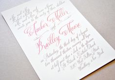 Coral Wedding Invitations Calligraphy Coral by WhimsyBDesigns
