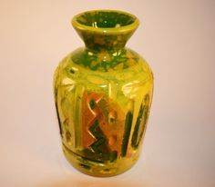 Italian Green Drip Glazed Ceramic Pottery Vase - Italian Vase - Home decor