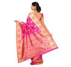 Zari work tusser silk saree in Magenta