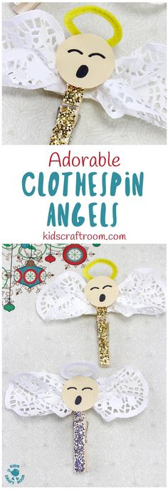ADORABLE CLOTHESPIN ANGEL CRAFT - Looking for an easy 5 minute Christmas craft idea for kids? This Adorable Clothespin Angel Craft is super simple and very cute!  Clip these homemade angels onto your Christmas tree, gift ties or around the house. This clothespin craft is fun to make and the homemade angels are sure to delight everyone that sees them. #angel #angels #angelcraft #christmas #christmascrafts #clothespin #clothespincrafts #kidscrafts #kidscraftroom  #ornaments via @KidsCraftRoom