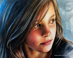 Time lapse video of a realistic portrait painting in mixed media(pencil, watercolor, colored pencils and acrylic) by Christine Karron. 9x12 inches, on mixed ...