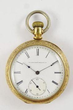 Antique 1883 Elgin Heavy 14k Gold Case River Boat Engraved Pocket Watch | eBay