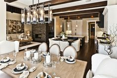 Awesome Rustic Dinning Room Design With Wooden Table And White Pillows Under The Candle Chandelier #candle chandelier ideas,  #dining sets