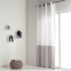 Image Tenda bicolore puro cotone occhielli, AGURI La Redoute Interieurs