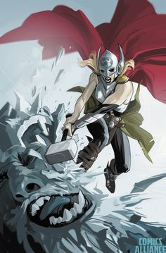 """'Saga co-creator Fiona Staples is one of the best cover artists in the industry, so it's no surprise that Marvel should want to borrow some of her magic for their new Thor series, by Jason Aaron and Russell Dauterman. And it's no surprise that the result is awesome, with the new Thor wielding the mighty Mjolnir to smash a frost giant right in his big frosty face."""""""