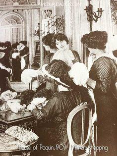 House-of-Paquin-1909-Millinery-shopping. Edwardian Era, Edwardian Fashion, Victorian, 1900s Fashion, Downton Abbey Fashion, Old Paris, Historical Pictures, Mode Vintage, Female Images