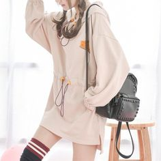 Beige Embroidery Casual Hoodie Jumper Dress SP179088