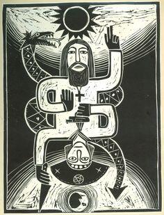 o santo e o guerreiro- gravura