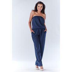 Strapless Jumpsuit, Navy Blue, Beautiful Women, Dresses With Sleeves, Suits, Clothes For Women, Womens Fashion, Urban, The 100