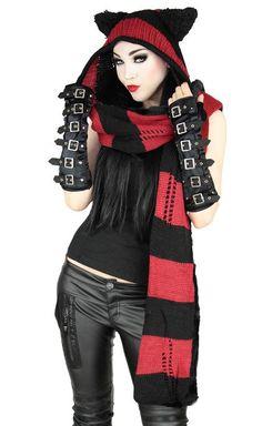 Pyon Pyon Kitty Hat Black Red Scarf Combo - I love this hat ! I don't care if I'm too old - I want one !