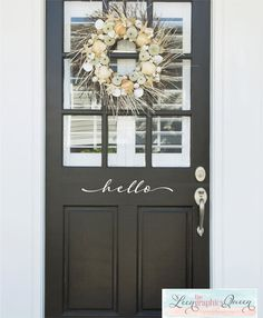 Hello Front Door Decal Script Lettering by LeenTheGraphicsQueen