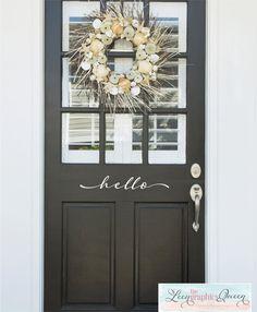 Hello Front Door Decal Script Lettering by LeenTheGraphicsQueen