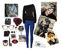 """""""Spring day Yoongi"""" by aimeelynch24 ❤ liked on Polyvore featuring adidas, Burberry, Fujifilm, Christian Dior, Karl Lagerfeld, Bare Escentuals, Gucci and Lime Crime"""