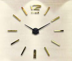 nástěnné-hodiny-na-zeď-jako-obraz-dekorace-nalepovací-moderně-levné-12S003-G Velké nalepovací nástěnné hodiny jsou vybaveny kvalitním Quartz strojkem. Zlaté nalepovací hodiny. Model 12S003G