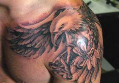 Wrap around shoulder eagle tattoo idea