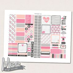 Printable planner stickers for use in mini Happy planner or personal size planners,Valentine day stickers,February planner stickers,pink by MeeDigiScrap on Etsy