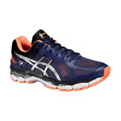 Asics Gel-kayano 22 Mens Trainers  Asics Gel-Kayano 22 Mens Trainers SS16 cobalt/silver/hot orange Run long distances in a shoe that puts your feet on autopilot. For over 20 years, overpronators have laced them up and hit the road knowing their feet are completely supported. And the last mile is just as comfortable as the first thanks to superb cushioning.