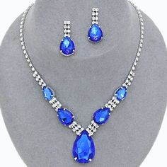 Royal Cobalt Blue Crystal Rhinestone  Formal Wedding Bridal Prom Party Pageant Bridesmaid Evening Teardrop Necklace Earrings Set Elegant Costume Jewelry