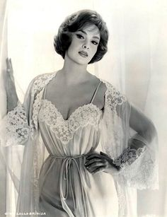 "Gina Lollobrigida in beautiful negligee, circa 1950s  (I believe they used to call this a ""peignor set."")"