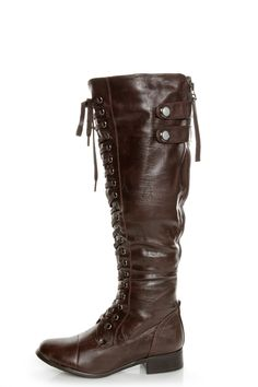 Rocker Brown Lace-Up Knee High Boots - $66.00