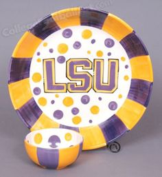 LSU Tigers Chip & Dip Bowl Set