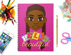 Journals for Girls, Black Girl Magic, Girl Boss Beautiful Black Girl, Hello Beautiful, Black Girls Rock, Black Girl Magic, Crafts For Girls, Love Drawings, Girl Boss, School Supplies, Cocoa