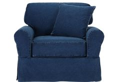Another livingroom chair possibility. I love the denim! -   Beachside Denim Chair  from Chairs Furniture