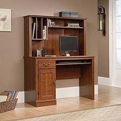 """Planked Cherry 44"""" Computer Desk with Hutch with Keyboard Tray"""