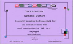 The test behind this cert is an interesting test for imagination, through perception.