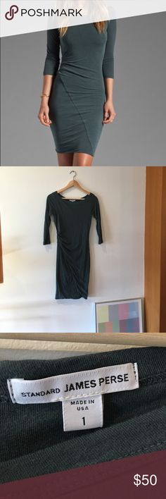 James Perse asymmetrical boat neck dress, Size 1 James Perse asymmetrical boat neck dress, color slate gray. Size 1. Barely worn. Purchased from another posher but it didn't fit me😢 my loss is your gain! Happy Poshing! James Perse Dresses