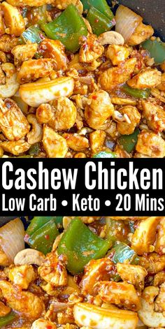 Low Carb Cashew Chicken – Quick 20 Minute Keto recipe that makes a delicious and budget friendly takeout alternative! Low Carb Cashew Chicken – Quick 20 Minute Keto recipe that makes a delicious and budget friendly takeout alternative! Low Carb Chicken Recipes, Chicken Meal Prep, Diet Recipes, Cooking Recipes, Keto Chicken, Pasta Recipes, Crack Chicken, Healthy Recipes Blog, Paleo Recipes Low Carb