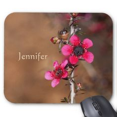 Monogram Pretty Pink Flowers Mouse Pad - monogram gifts unique custom diy personalize