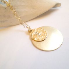 "16"" double disk initial necklace via Beau and Stella on Etsy"
