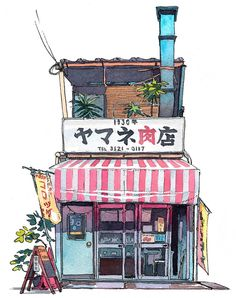 A series of watercolor illustrations of Tokyo storefronts by artist Mateusz Urbanowicz . He first encountered th. Art And Illustration, Illustrations, Watercolor Illustration, Watercolor Art, Japan Watercolor, Building Illustration, Japanese Illustration, Tokyo, Urban Sketching