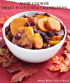 Slow Cooker Sweet Potatoes & Cranberries ~ great flavorful #recipe that's so easy since you cook it in the #crockpot! Butter With A Side of Bread