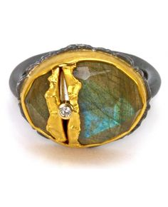 Labradorite Golden Joinery Ring