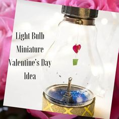 Make a massive impact with a Lightbulb Miniature Valentine's Day DIY Idea! I built this project after seeing those ship-in-a-bottle art pieces. Create any theme you want with mini charms inside the bulb. Add a hot air balloon, or a little flying Pet Bottle, Bottle Art, Glass Bottle Crafts, Glass Bottles, Antique Sewing Machines, Diy Curtains, Tape Crafts, Valentine's Day Diy, Light Bulb