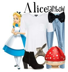 """""""Alice"""" by tallybow ❤ liked on Polyvore featuring Disney, Topshop, Nly Shoes, Kate Spade, women's clothing, women's fashion, women, female, woman and misses"""