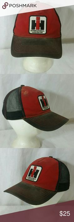 International Harvester Snapback Hat Destroyed Beat up - Broke In - Beautifully Destroyed International Harvester  Accessories Hats