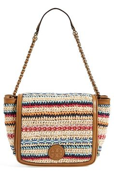 Tory Burch 'Small Marion' Woven Shoulder Bag