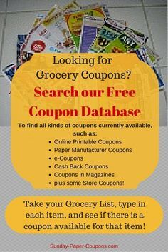 Get all of your free food coupons and online grocery coupons from Manufacturers and Grocery Stores here at Sunday Paper Coupons! Free Food Coupons, Free Coupons Online, Free Coupons By Mail, Grocery Coupons, Printable Coupons, Free Mail, Grocery Ads, Print Coupons, Grocery Store
