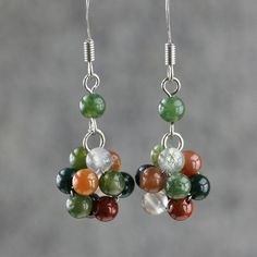 Fancy Agate stone drop earrings Free US Shipping by AnniDesignsllc