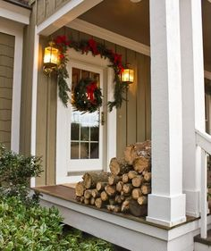 80 Awesome Christmas Porch and Entry Decorating Ideas - Style Estate -  Christmas Porch, Christmas Love, Country Christmas, All Things Christmas, Christmas Holidays, Christmas Wreaths, Merry Christmas, Christmas Decorations, Xmas