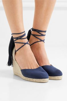 Wedge heel measures approximately 80mm/ 3 inches Navy suede Ties at ankle  Imported