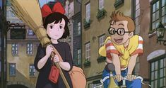 """Kiki's Delivery Service: Why Do So Many Anime Films Have Talking Cats? """"Kiki's Delivery Service"""" Even witches have to grow up. Kiki Cosplay, Dreamworks, Kiki's Delivery Service, Kiki Delivery, Studio Ghibli Movies, Castle In The Sky, Anime Films, Hayao Miyazaki, Howls Moving Castle"""