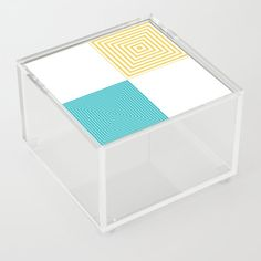 Colour Pop Squares - Turquoise and Yellow Acrylic Box by laec Colour Pop, Color, Good Advice For Life, Storage Places, Acrylic Box, Squares, Decorative Boxes, Turquoise, Yellow