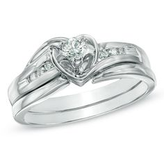 I've tagged a product on Zales: 1/5 CT. T.W. Diamond Heart Bridal Set in 10K White Gold