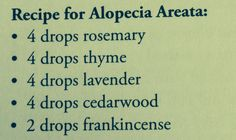 Alopecia blend: rub 3-5 drops on scalp before bed.